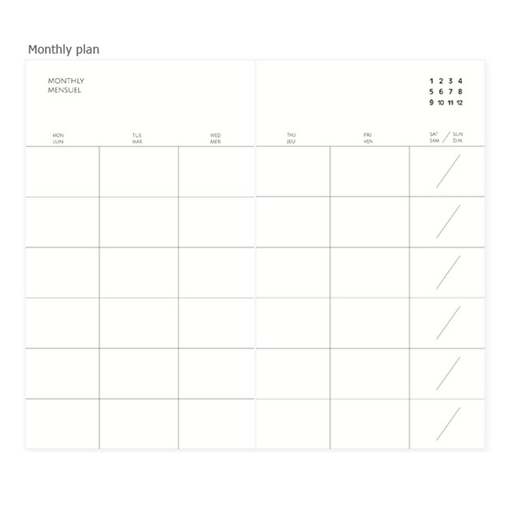 Monthly plan - Mon petit agenda weekly undated diary scheduler