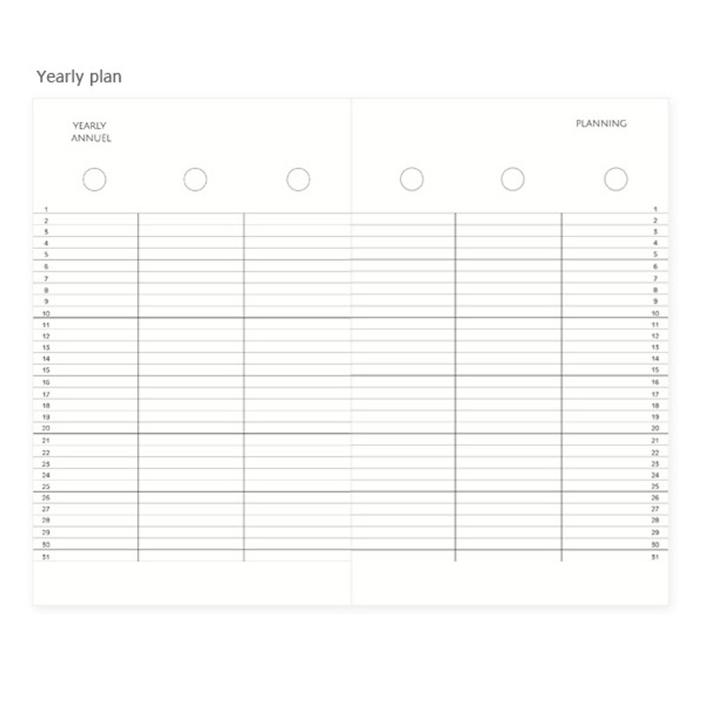 Yearly plan - Mon petit agenda weekly undated diary scheduler
