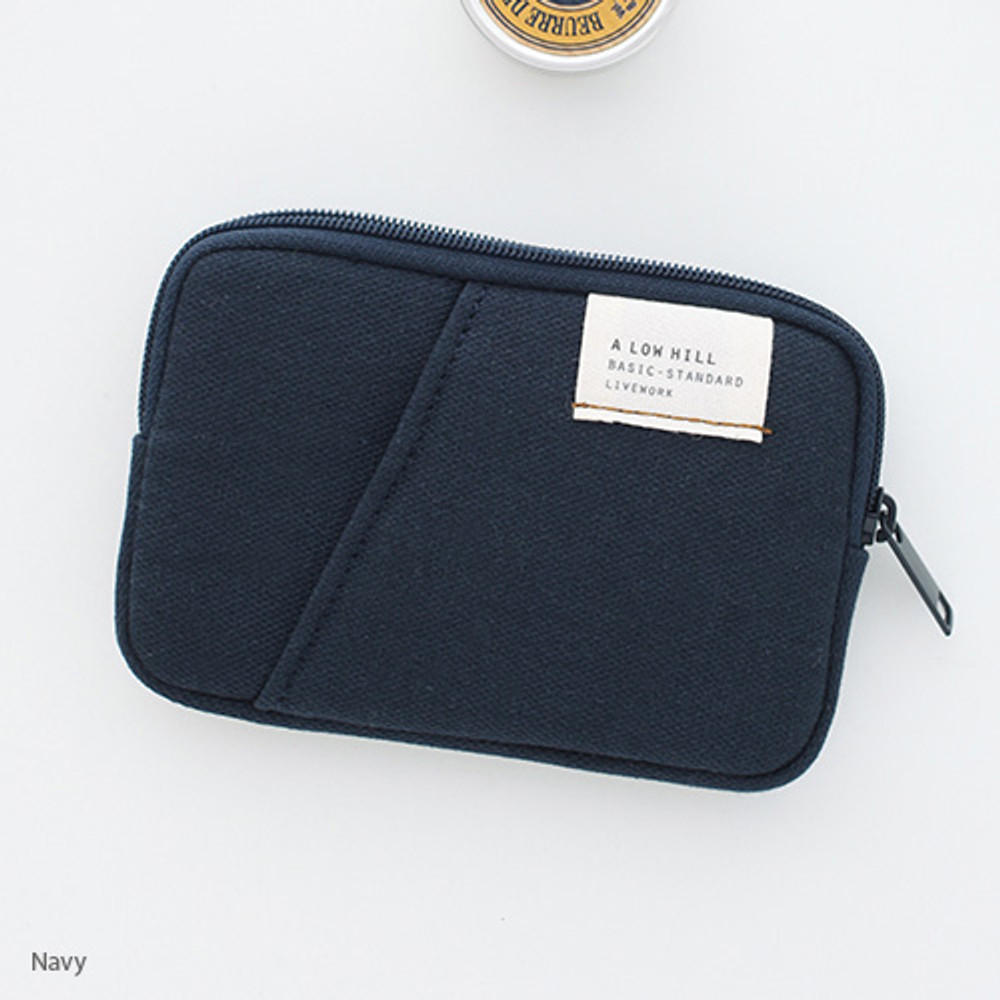 Navy - A low hill basic standard pocket card case ver.2