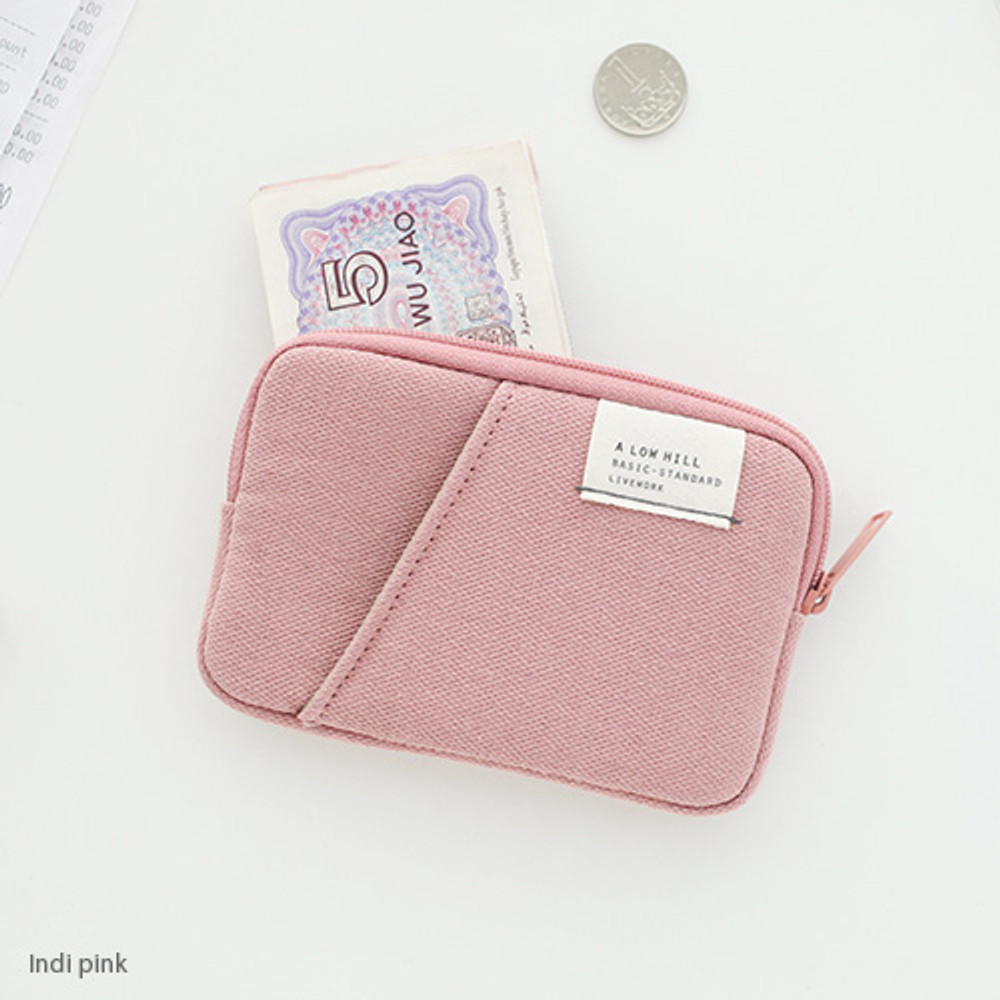 Indi pink - A low hill basic standard pocket card case ver.2