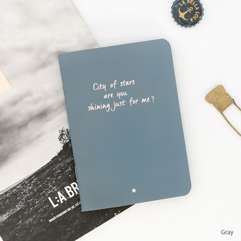Gray - Romane illustration small plain and lined notebook