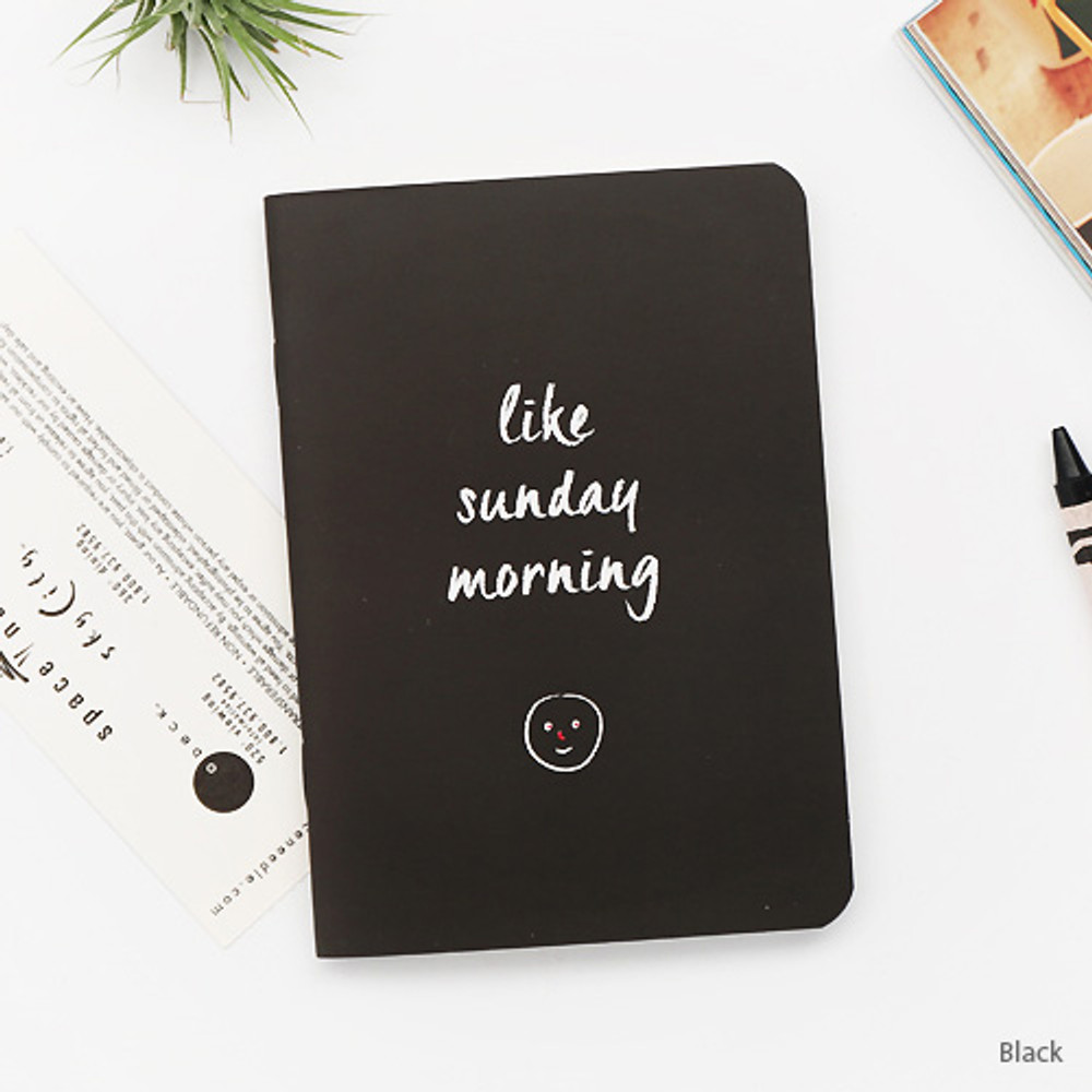 Black - Romane illustration small plain and lined notebook