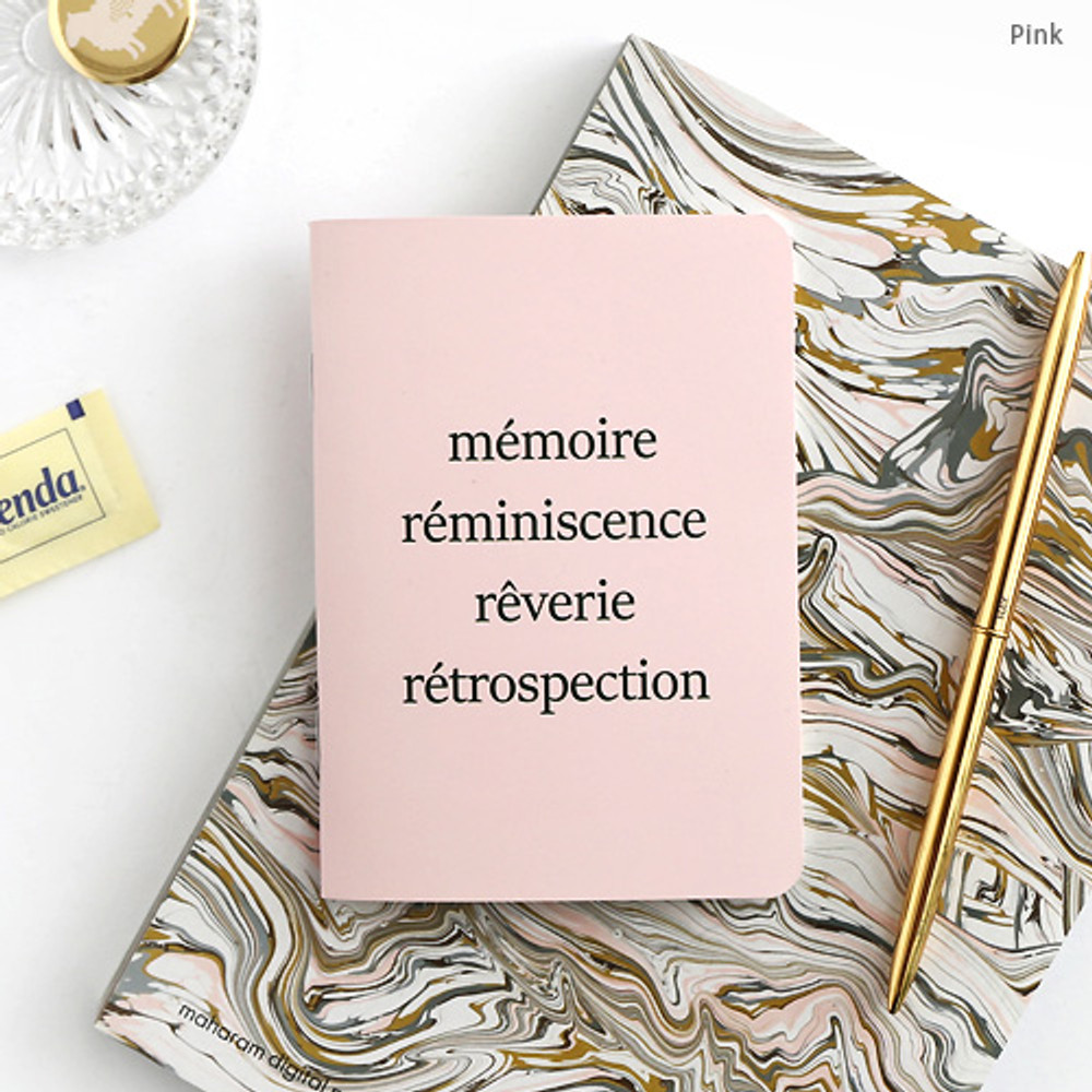 Pink - Romane illustration small plain and lined notebook