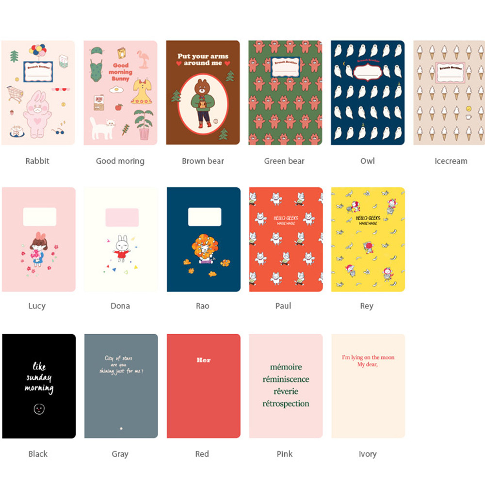 Option of Romane illustration small plain and lined notebook