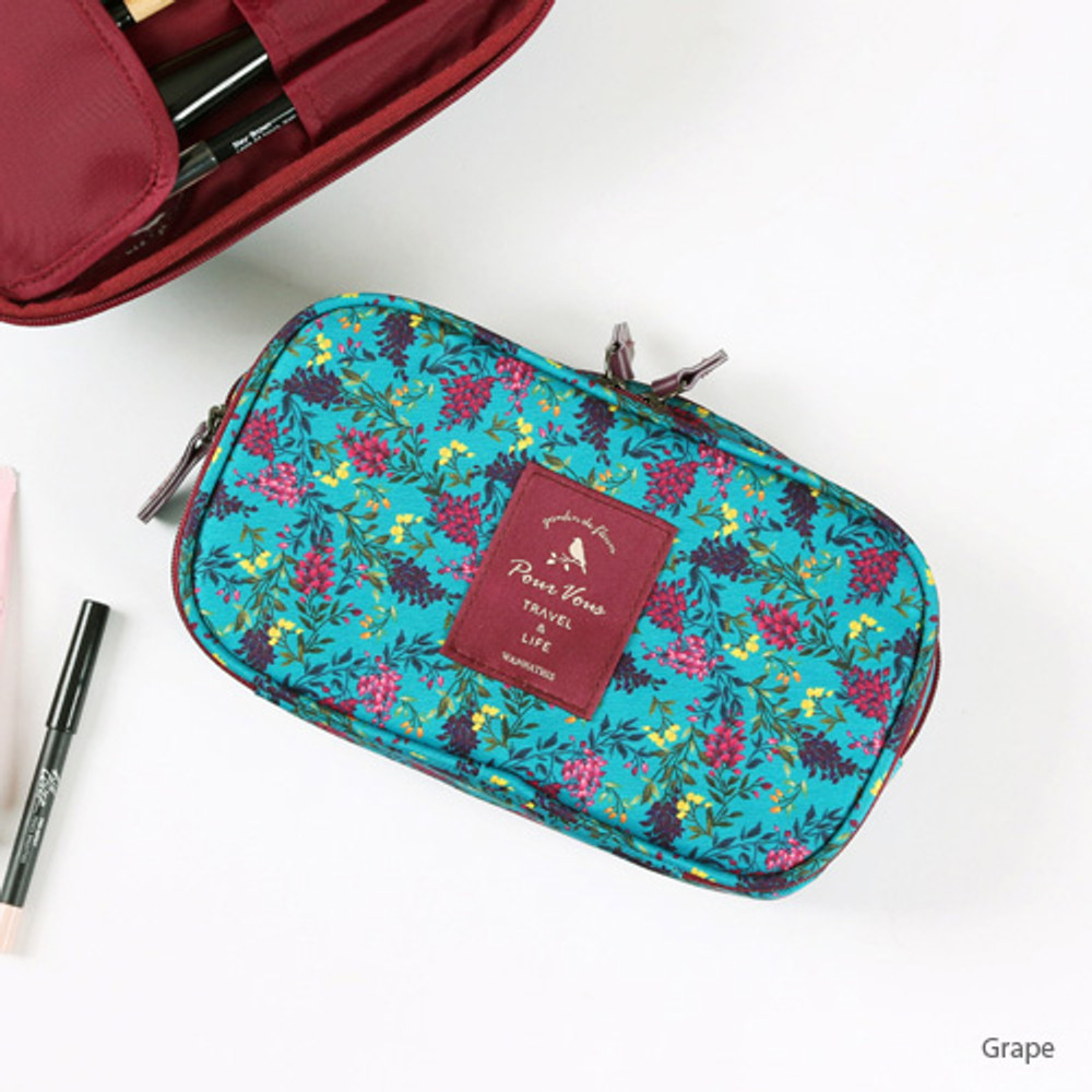 Grape - Wanna This Cosmetic makeup double side zipper pouch