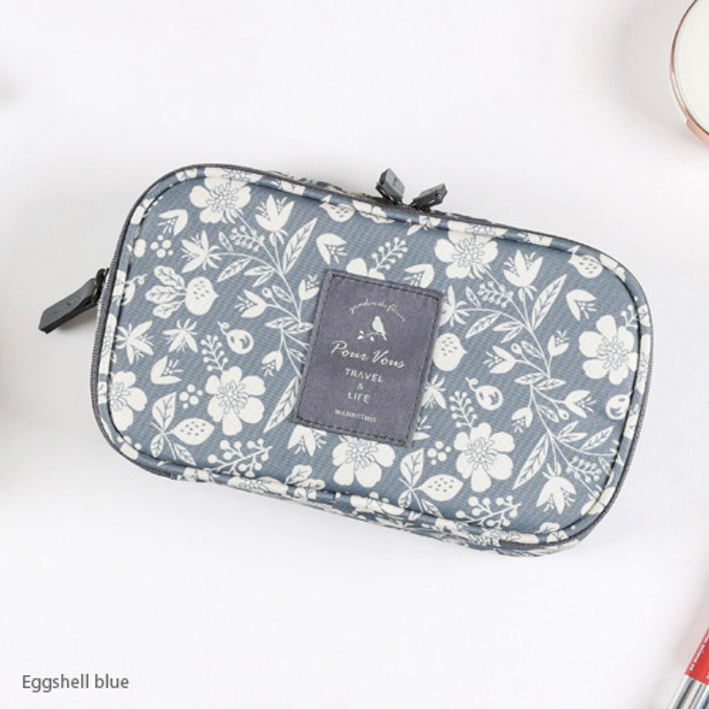 Eggshell blue - Cosmetic makeup double side zipper pouch