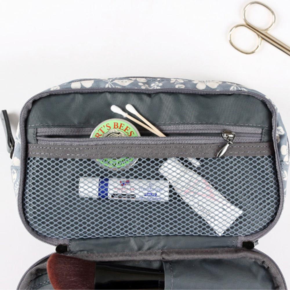 Zipper pocket - Cosmetic makeup double side zipper pouch