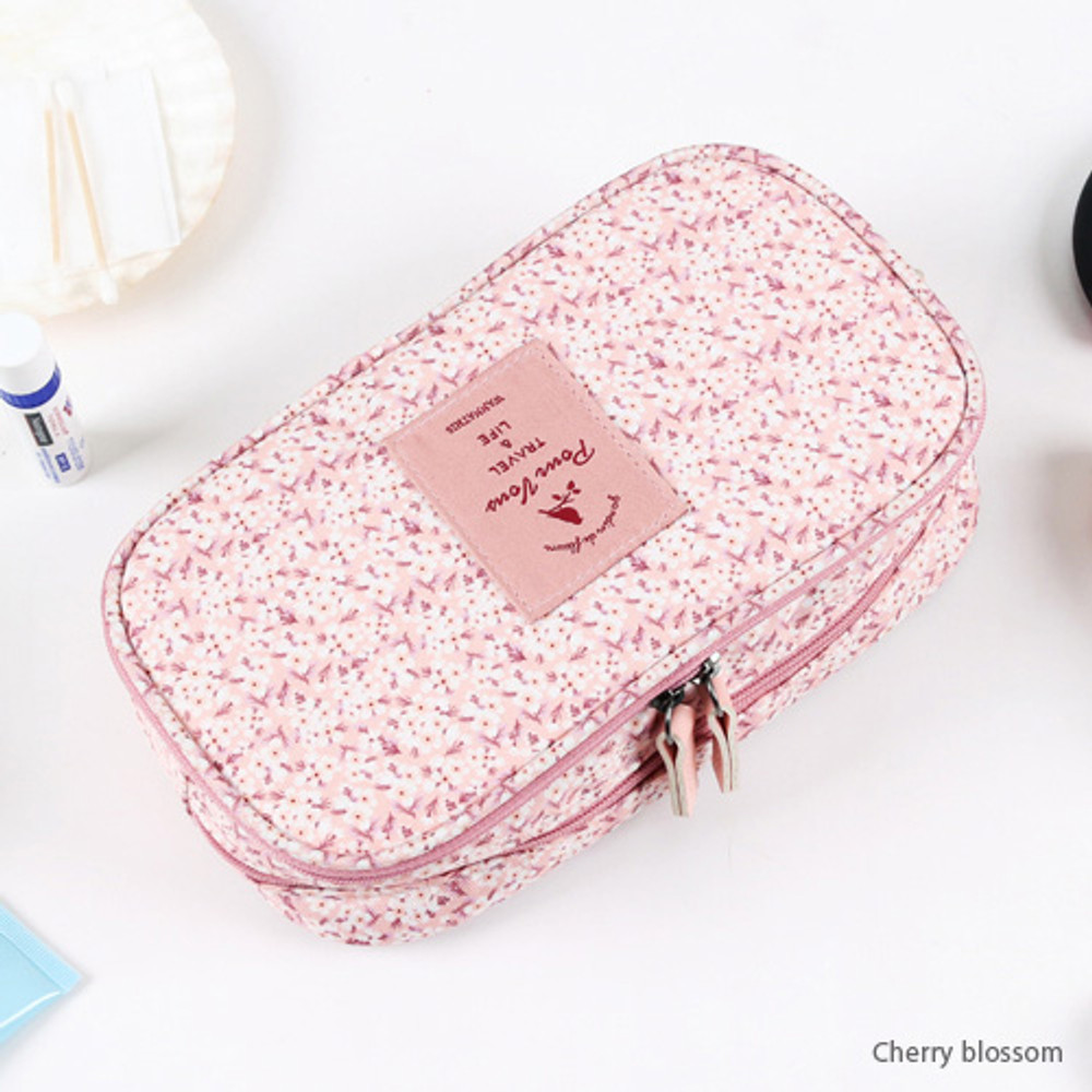 Cherry blossom - Cosmetic makeup double side zipper pouch