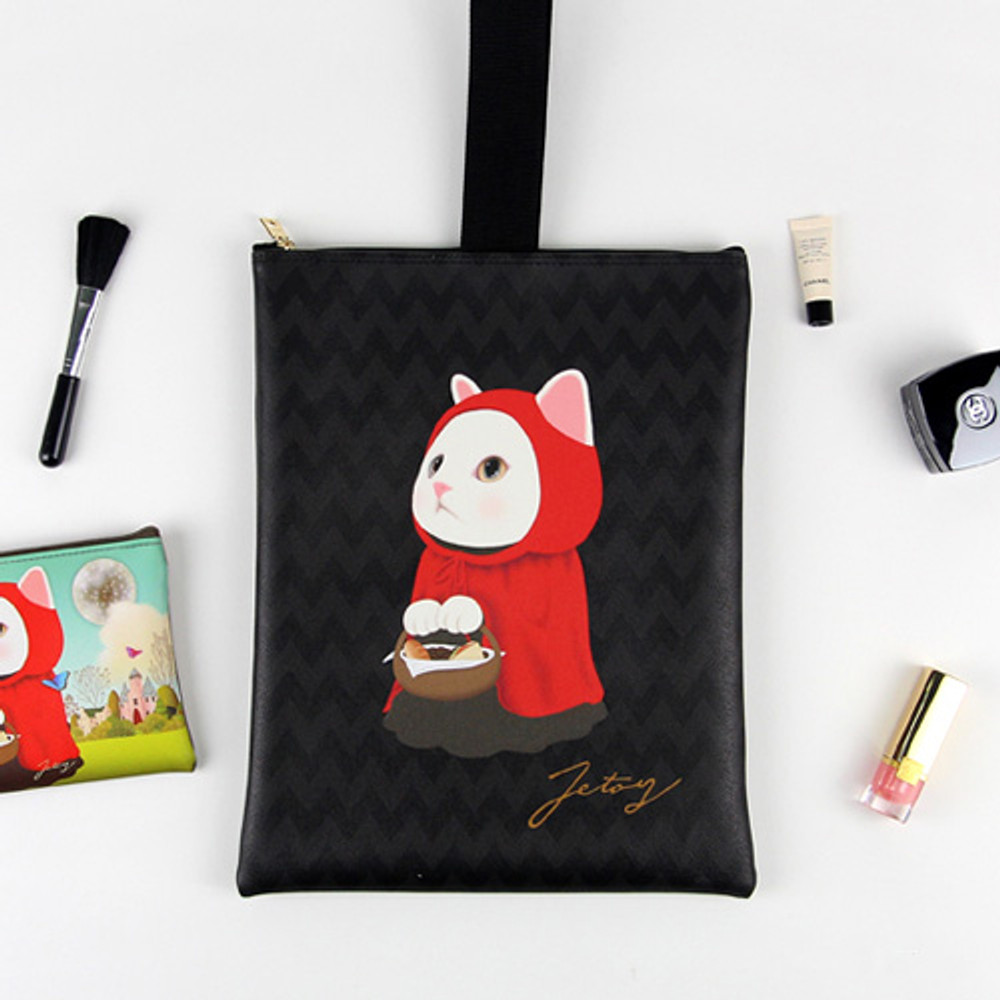 Red hood - Choo Choo cat cori zipper tote bag