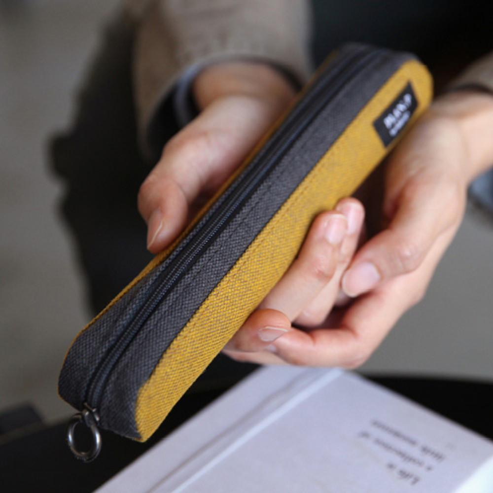Golden yellow - Draw up a plan single zipper pencil case