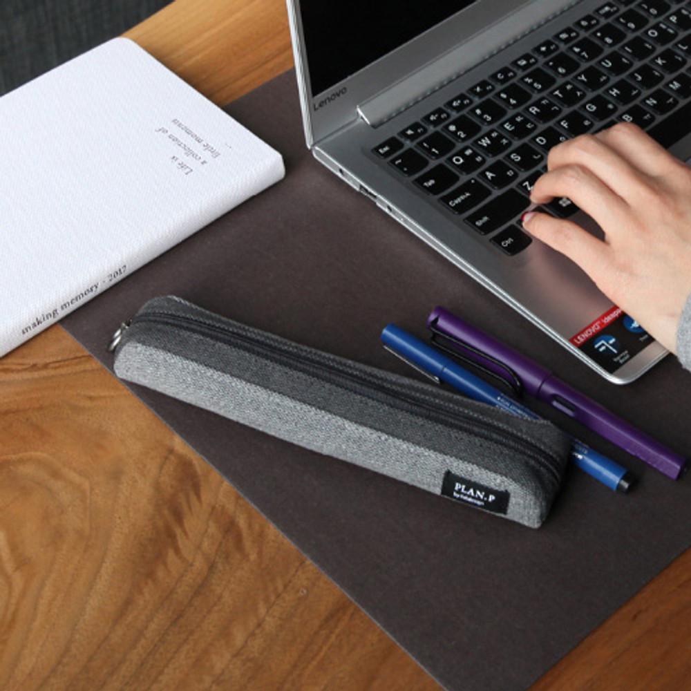 Light gray - Draw up a plan single zipper pencil case
