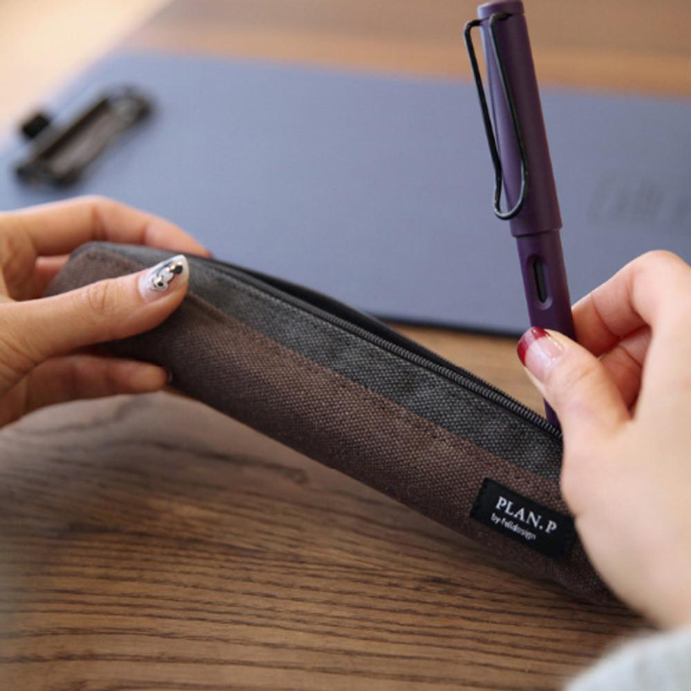 Dark brown - Draw up a plan single zipper pencil casee