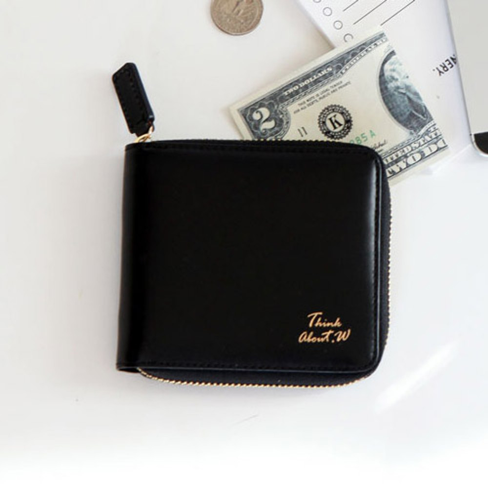 Black - Think about w Genuine Leather zip around wallet