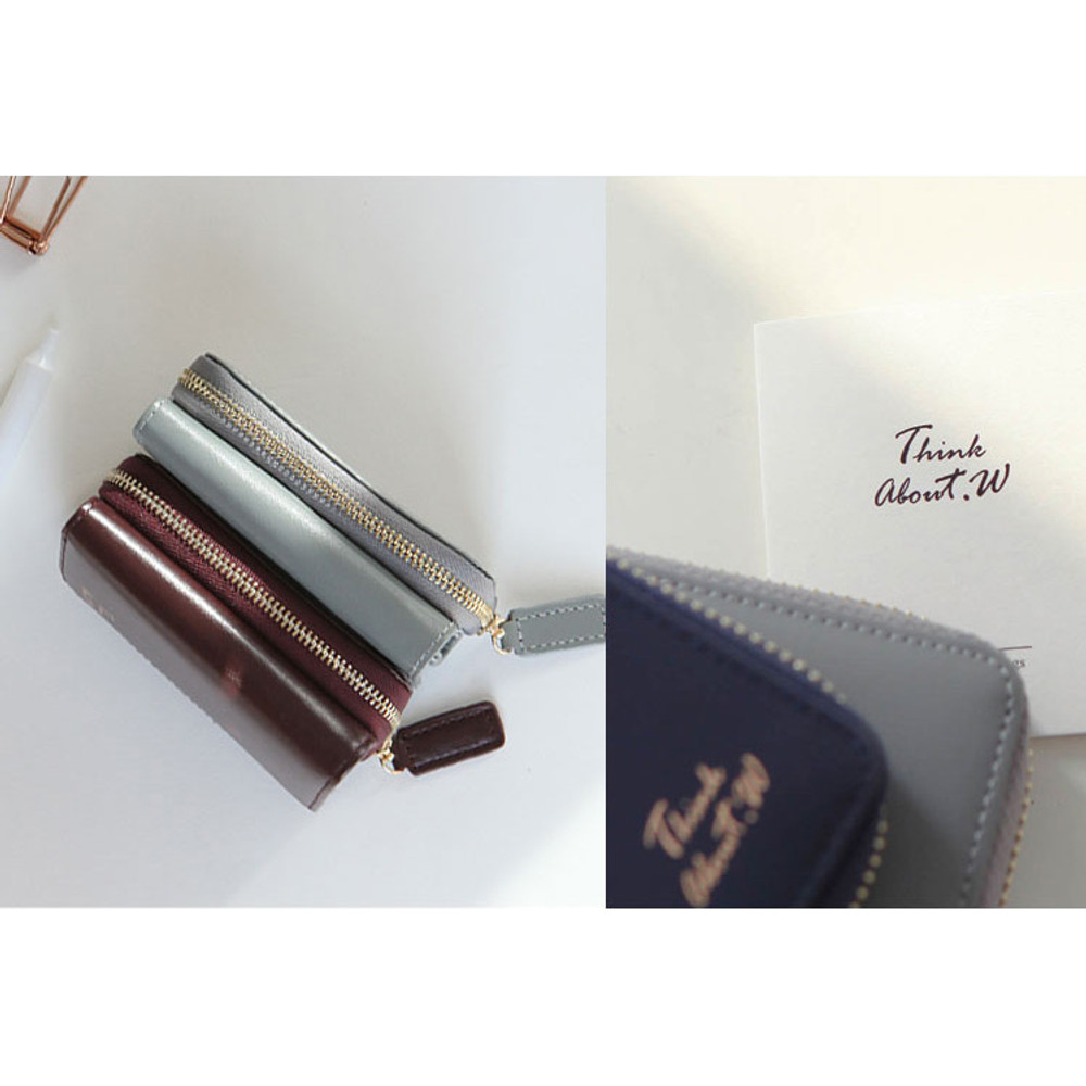 Detail of Think about w genuine leather small trifold wallet