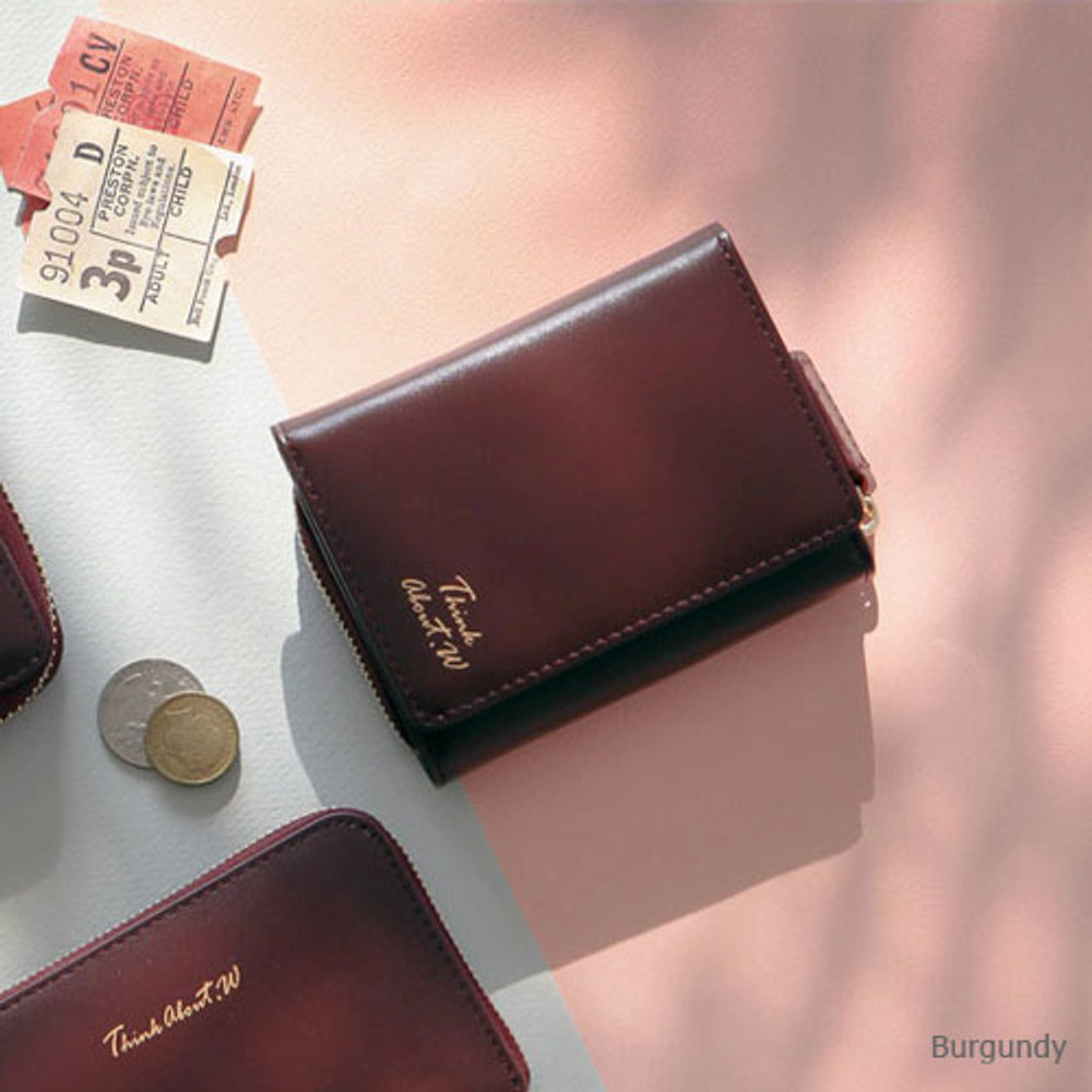 Burgundy - Think about w genuine leather small trifold wallet