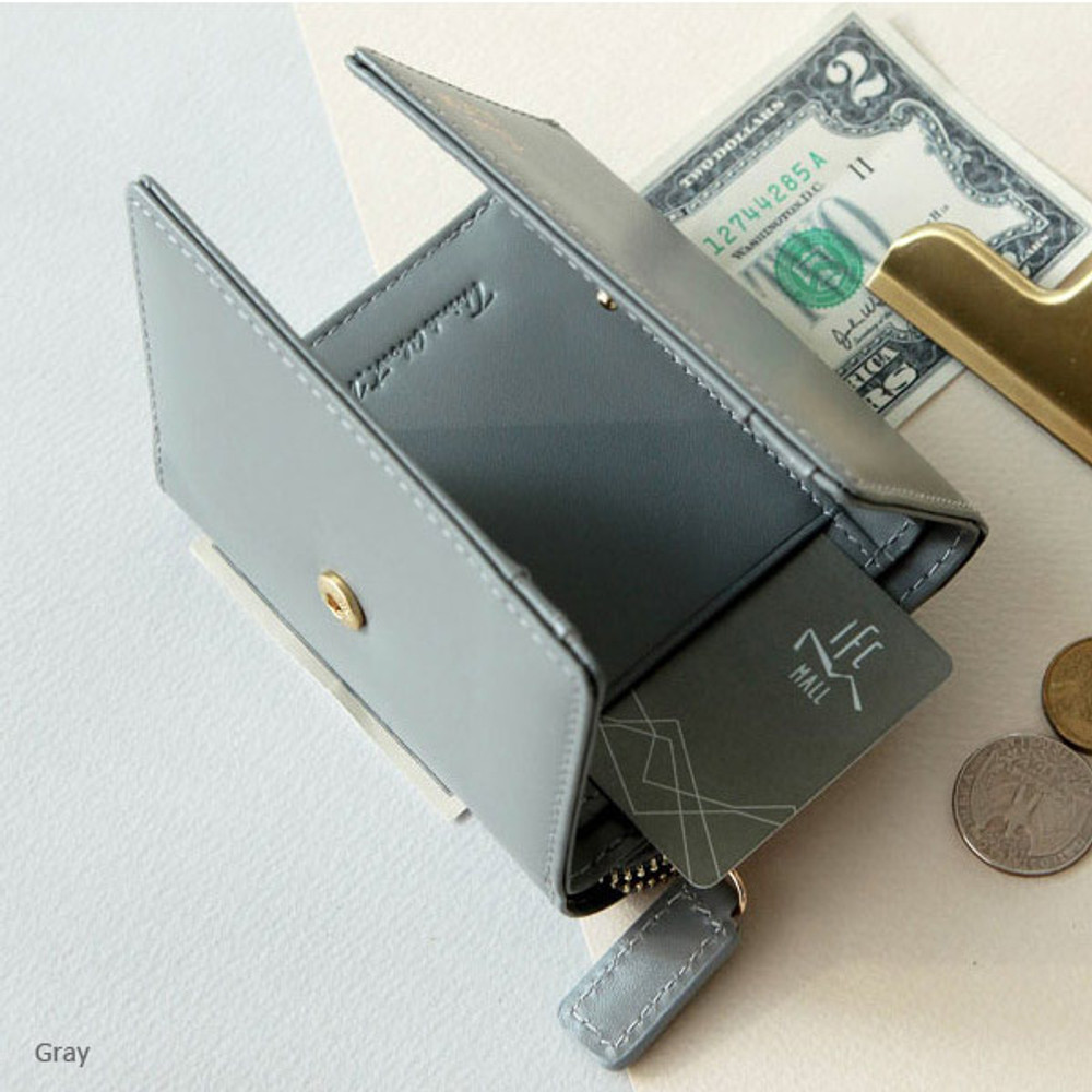 Gray - Think about w genuine leather small trifold wallet