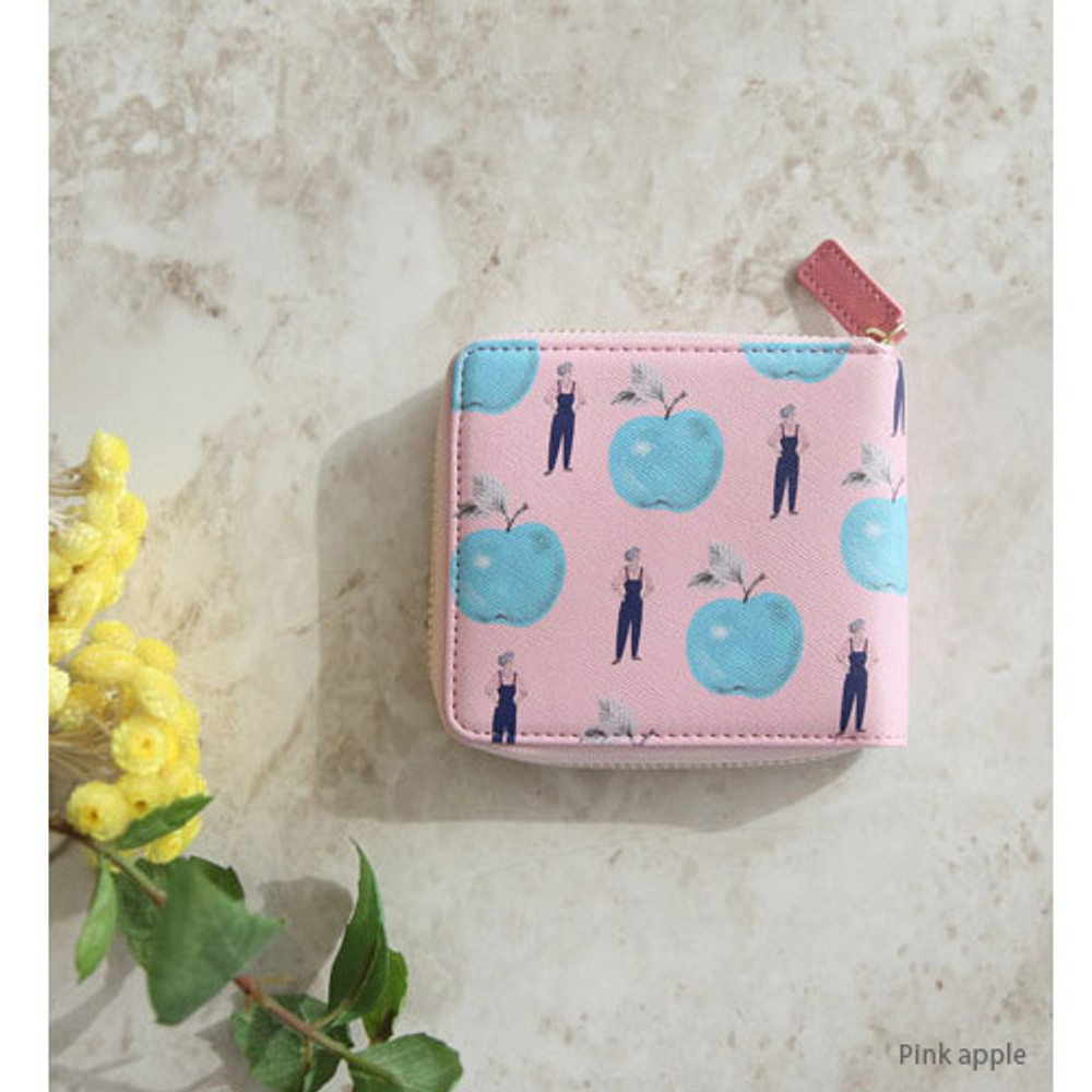 Pink apple - With Alice Rim pattern zip around wallet
