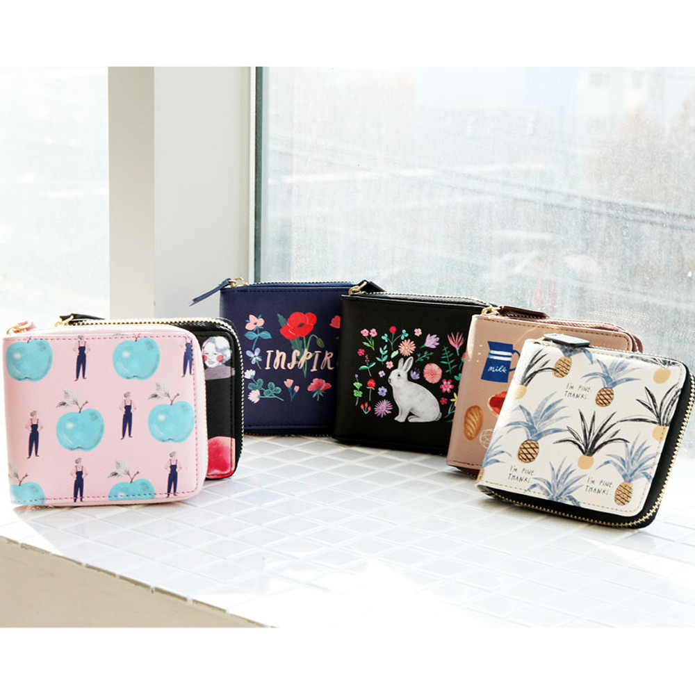 With Alice Rim pattern zip around wallet