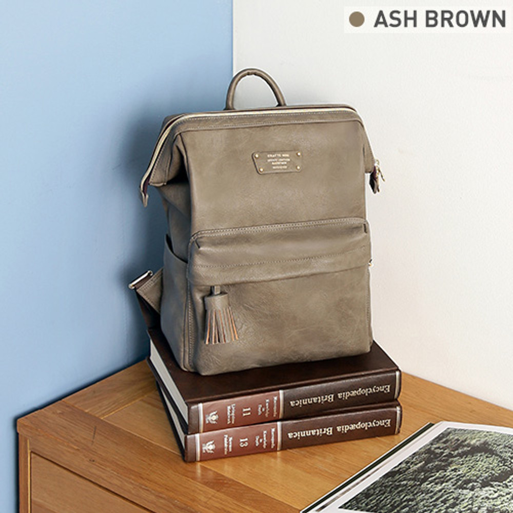 Ash brown - Monopoly Cratte mini leather backpack