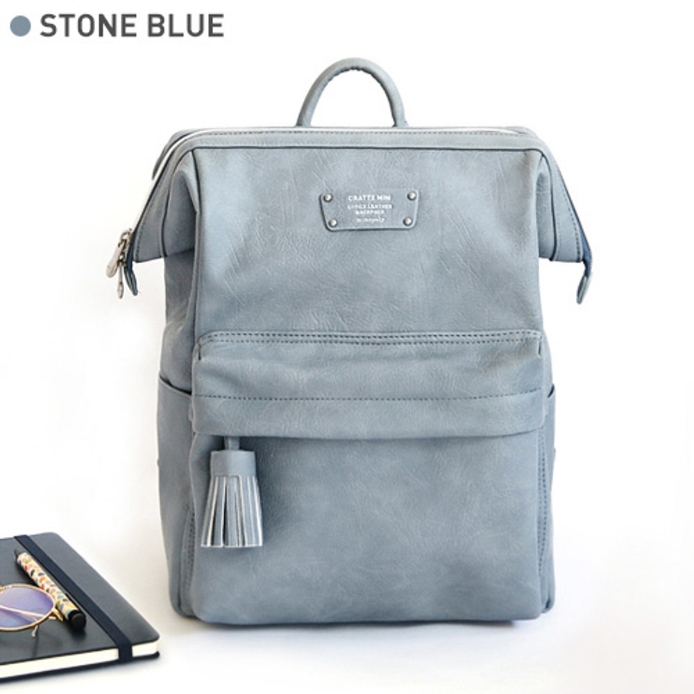 Stone blue - Monopoly Cratte mini leather backpack