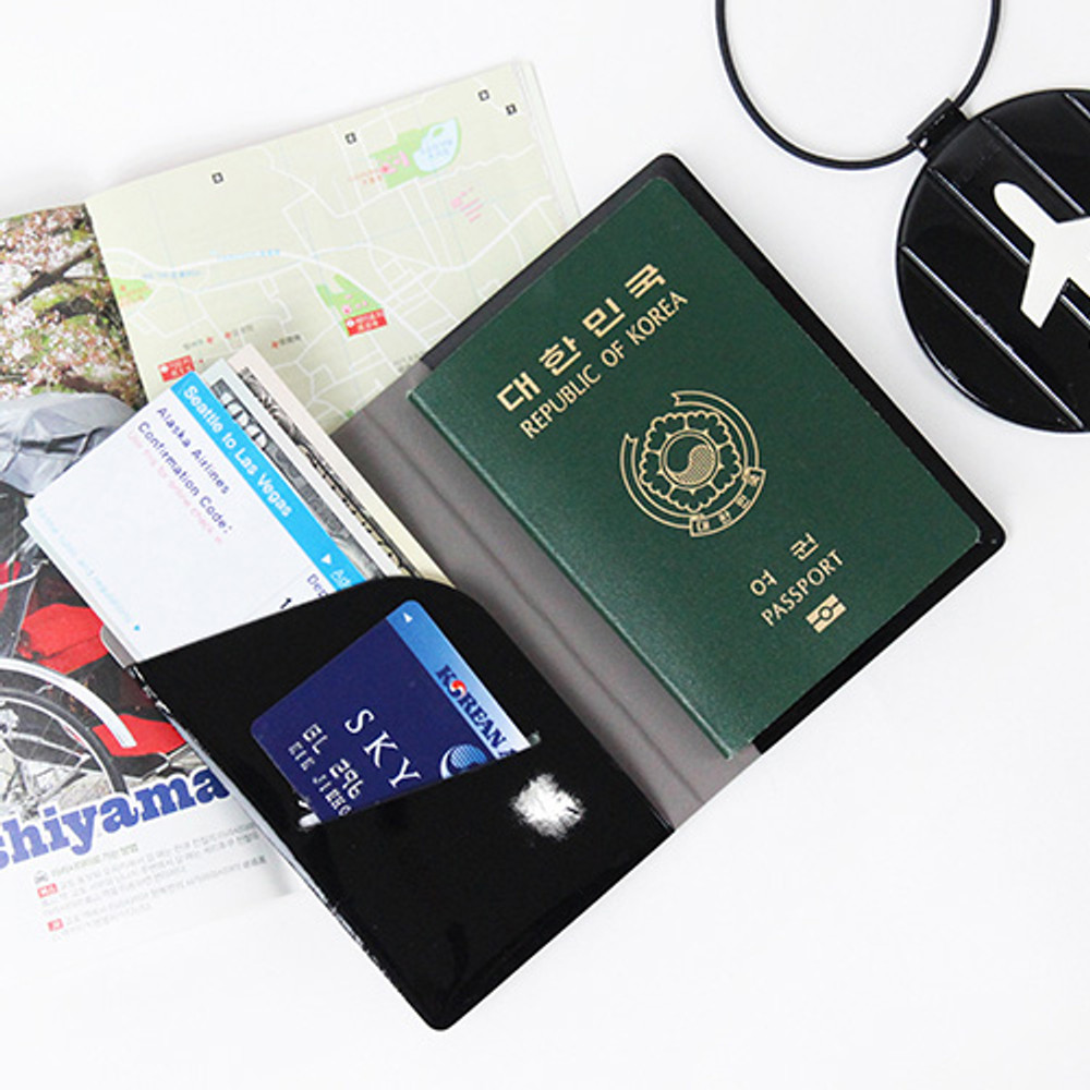 Black - Fenice Airplane enamel RFID blocking small passport cover