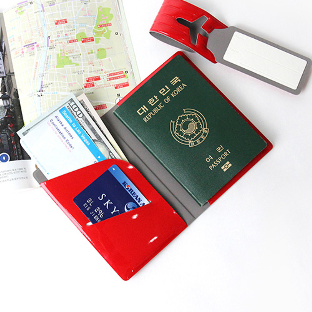 Red - Fenice Airplane enamel RFID blocking small passport cover