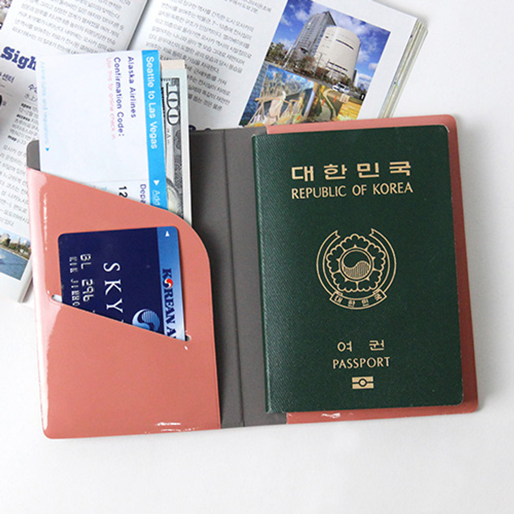 Rose pink - Fenice Airplane enamel RFID blocking small passport cover