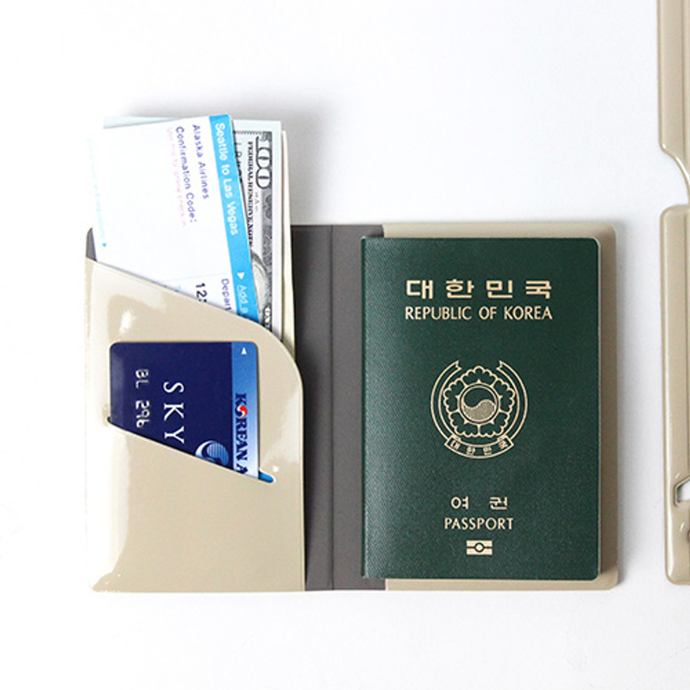 Beige - Fenice Airplane enamel RFID blocking small passport cover