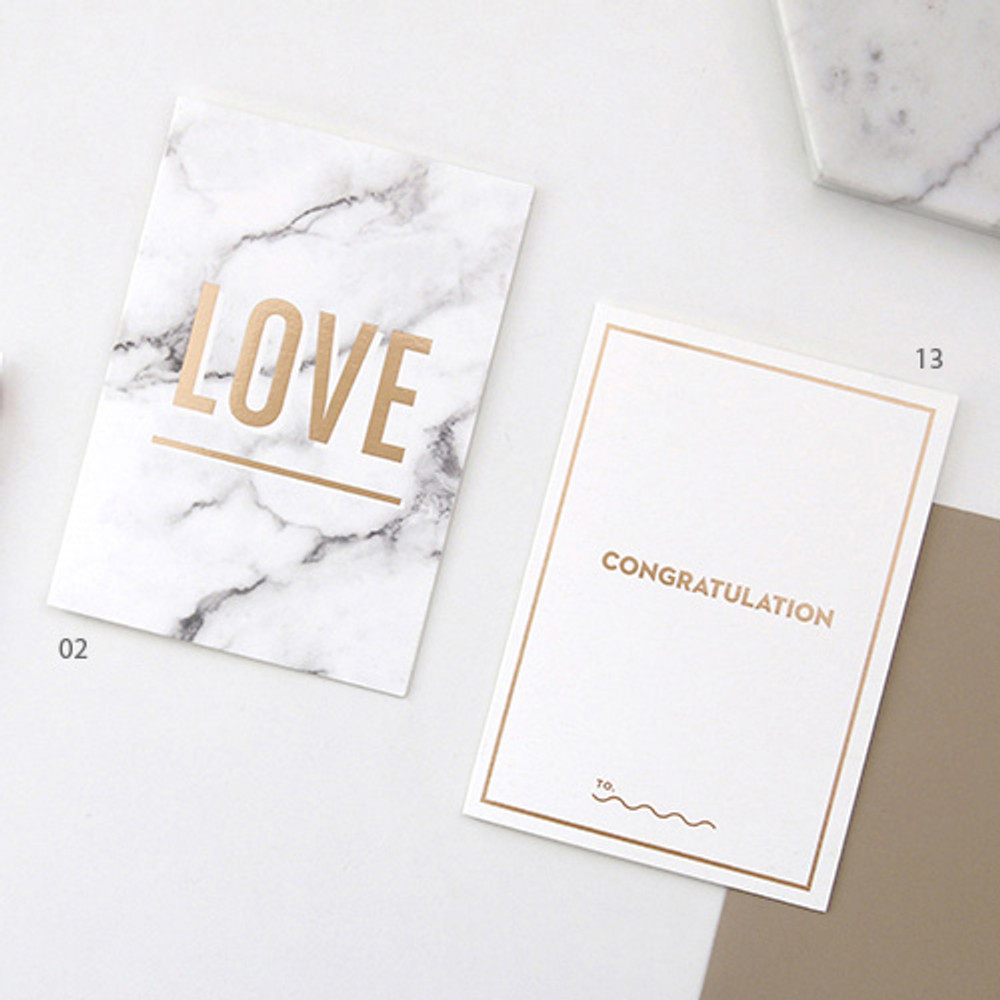 02 / 13 - Gold accent message card with envelope