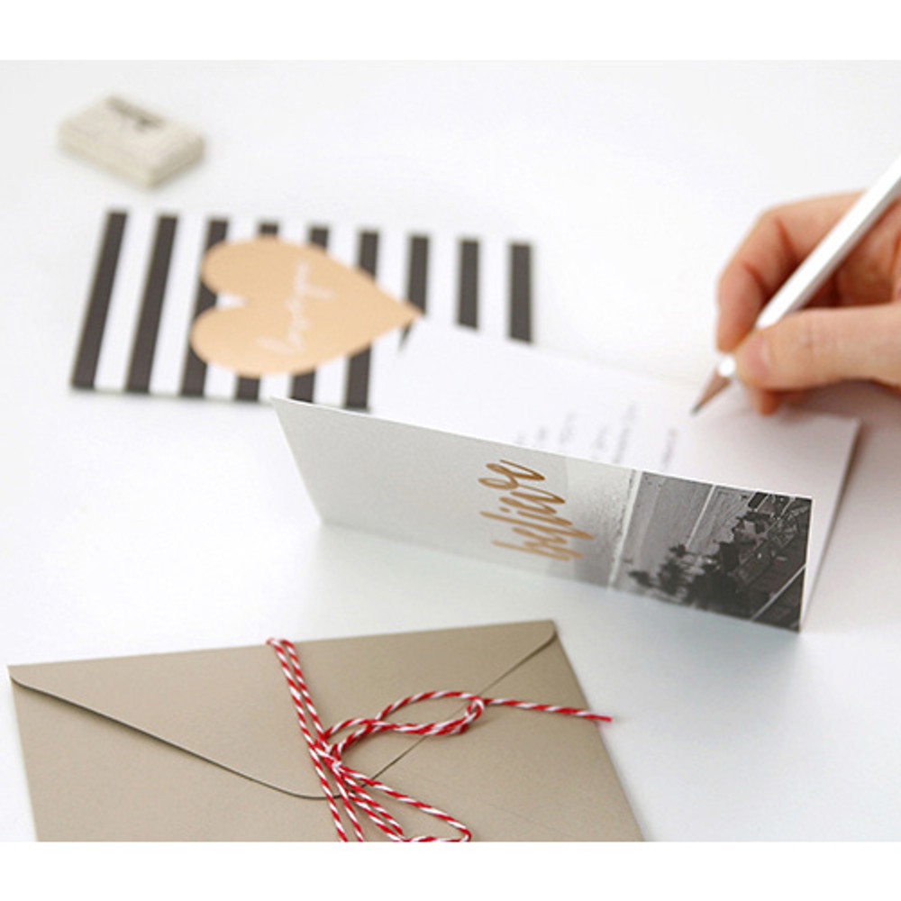 Gold accent message card with envelope
