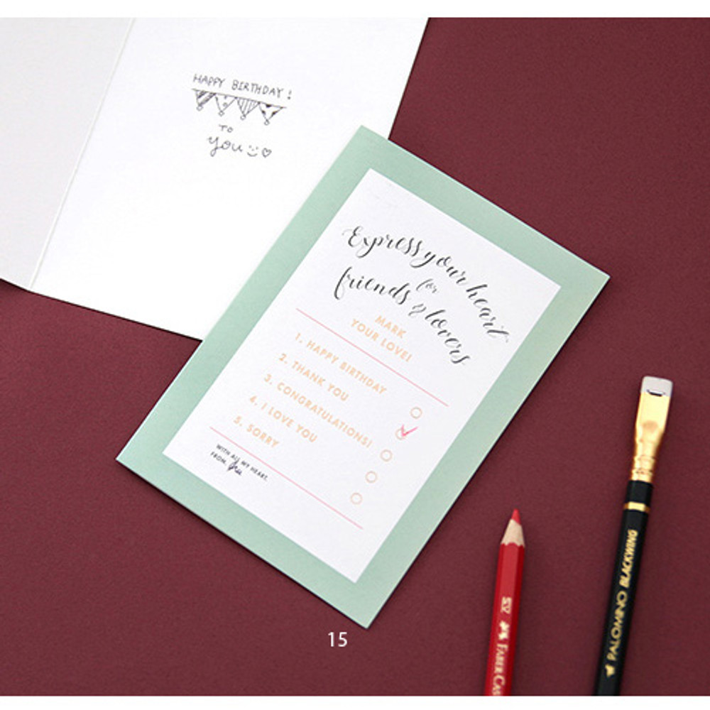 15 - Gold accent message card with envelope