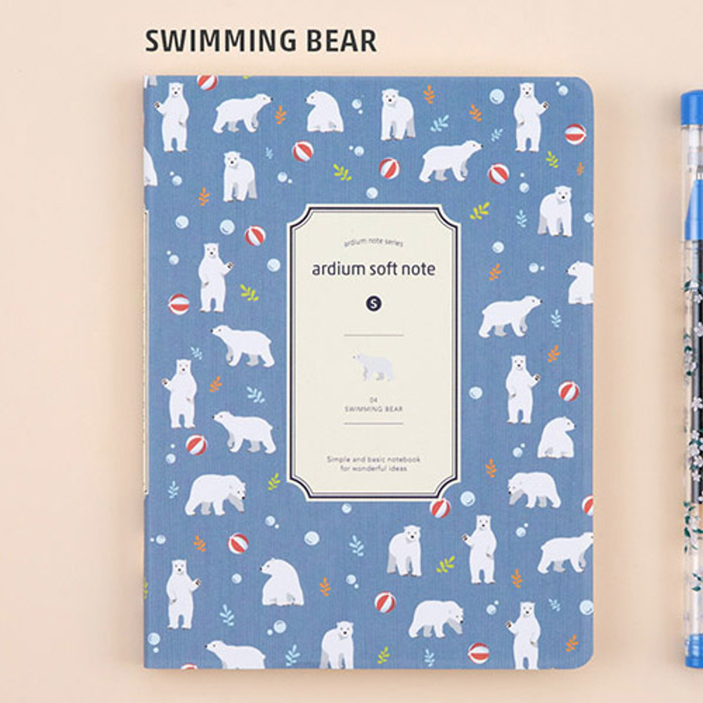 Swimming bear - Colorful pattern small soft lined notebook
