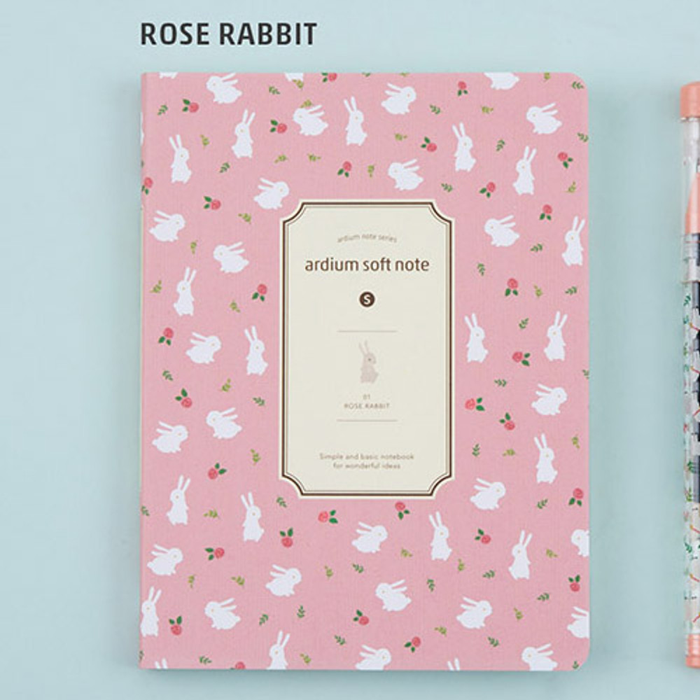 Rose rabbit - Colorful pattern small soft lined notebook
