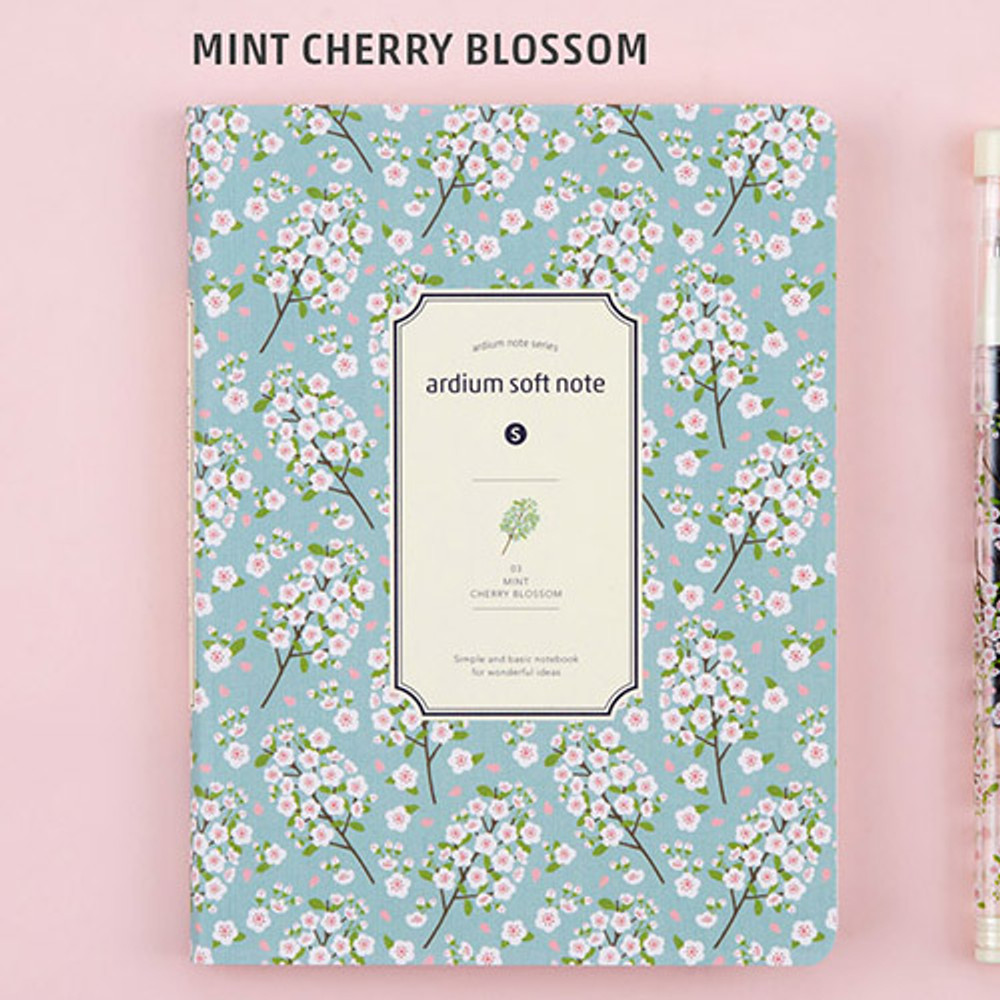 Mint cherry blossom - small soft lined notebook