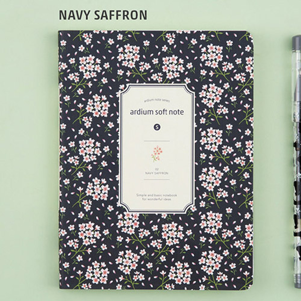 Navy saffron - Colorful pattern small soft lined notebook