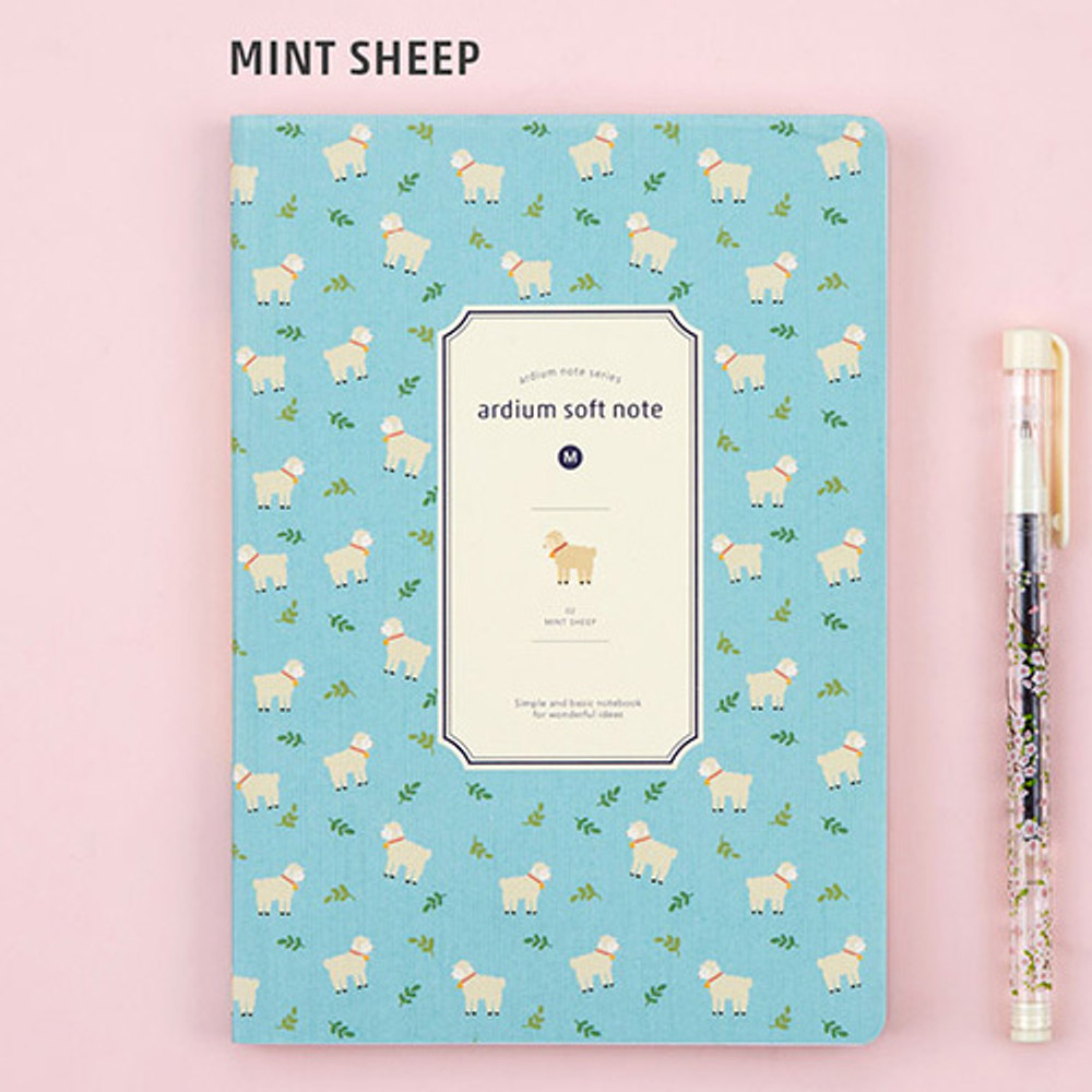 Mint sheep - Colorful pattern medium soft lined notebook