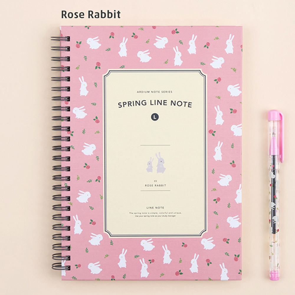 Rose rabbit - Wirebound spring lined large notebook