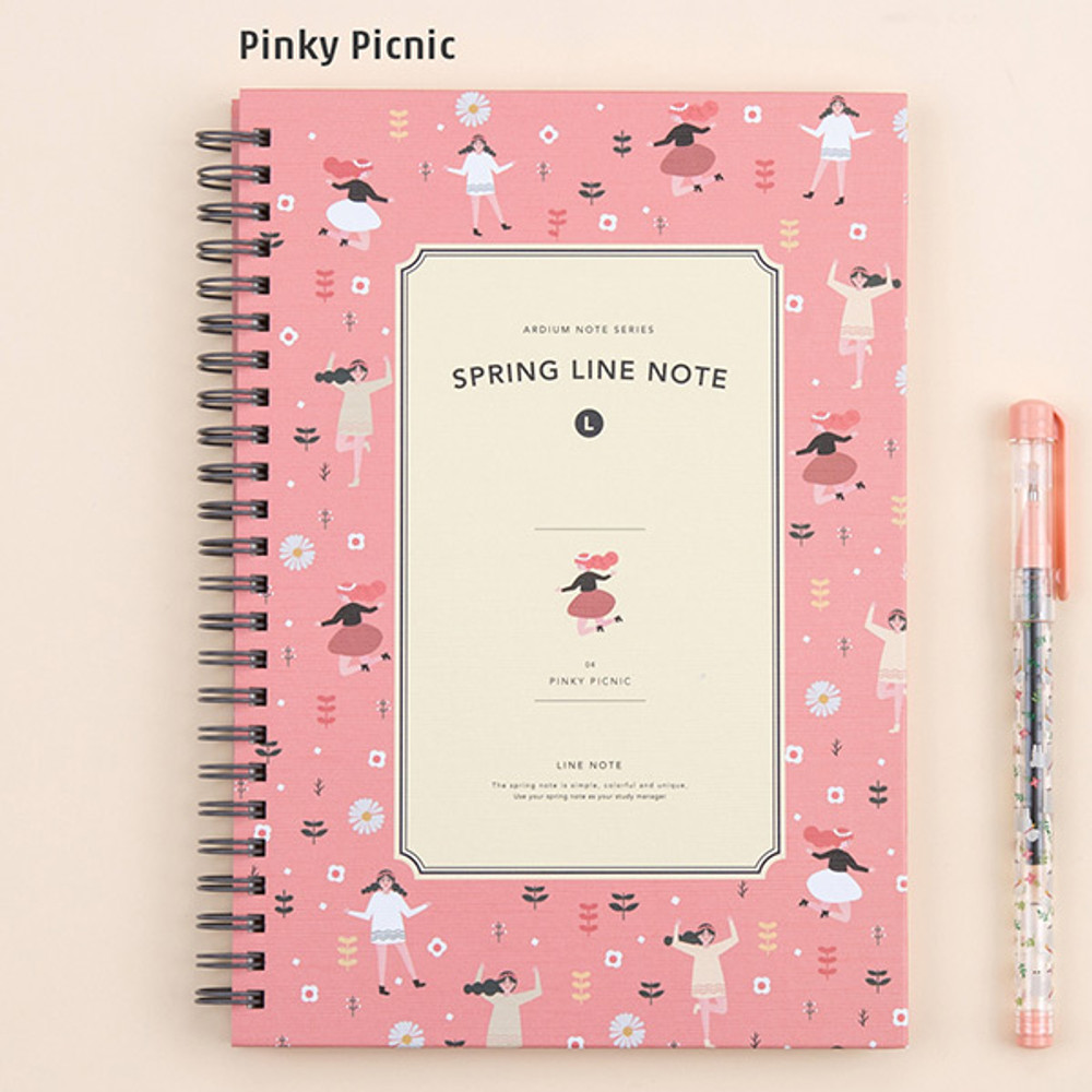 Pinky picnic - Wirebound spring lined large notebook