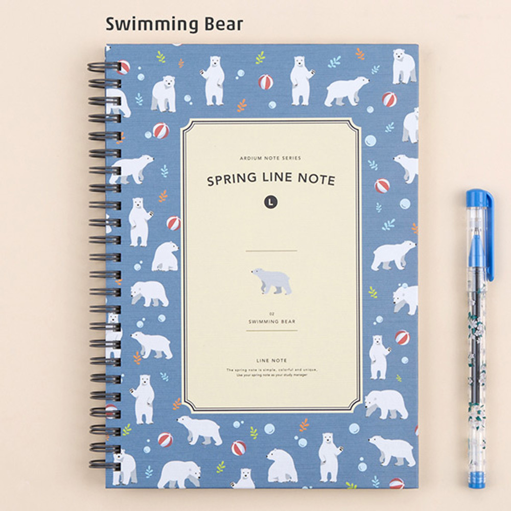 Swimming bear - Wirebound spring lined large notebook
