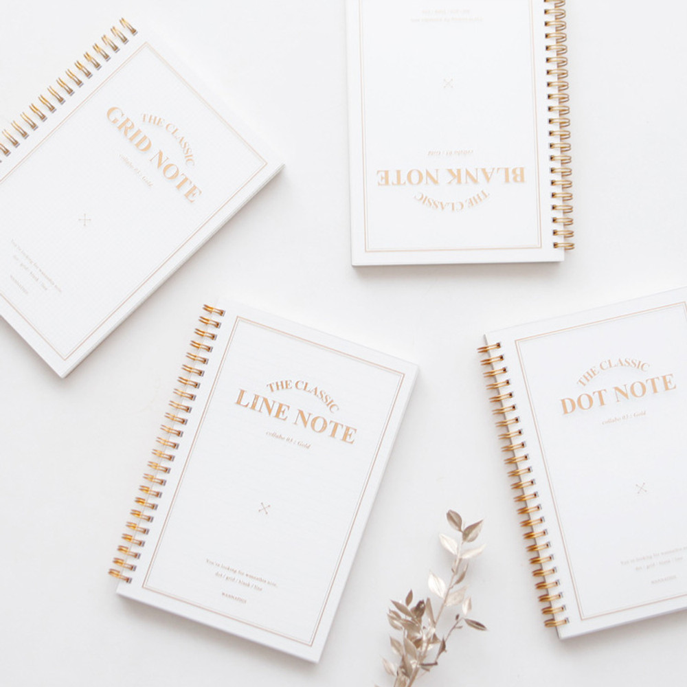 The classic gold spiral notebook