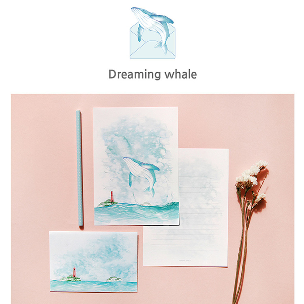 Dreaming whale - My story letter paper and envelope set with stickers