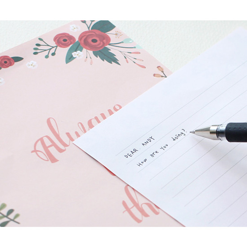Pink bloom - Pattern illustration letter paper and envelope set