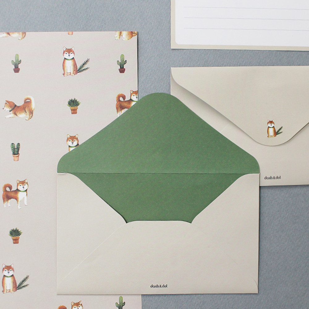 Shiba dog - Pattern illustration letter paper and envelope set