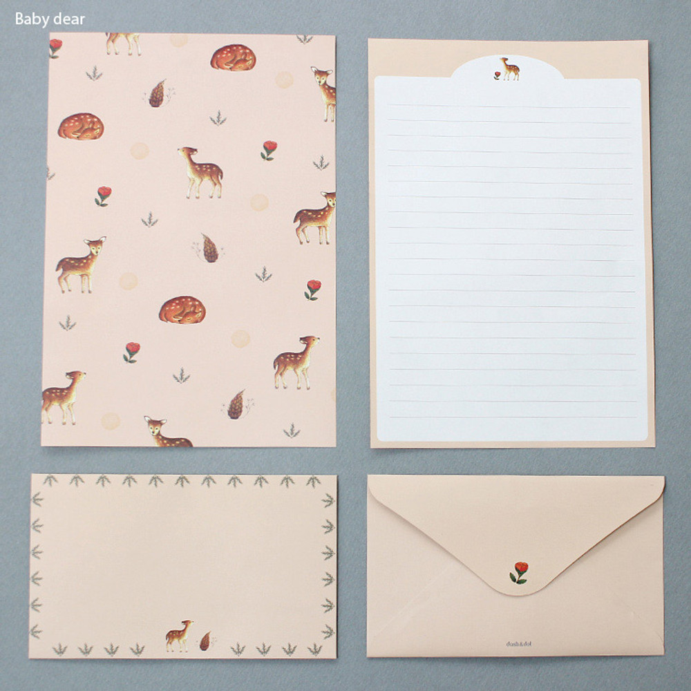 Baby dear - Pattern illustration letter paper and envelope set