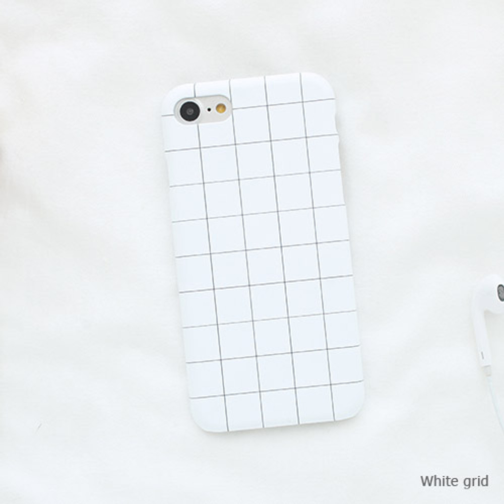White grid - Matte simple hard case for iPhone 7