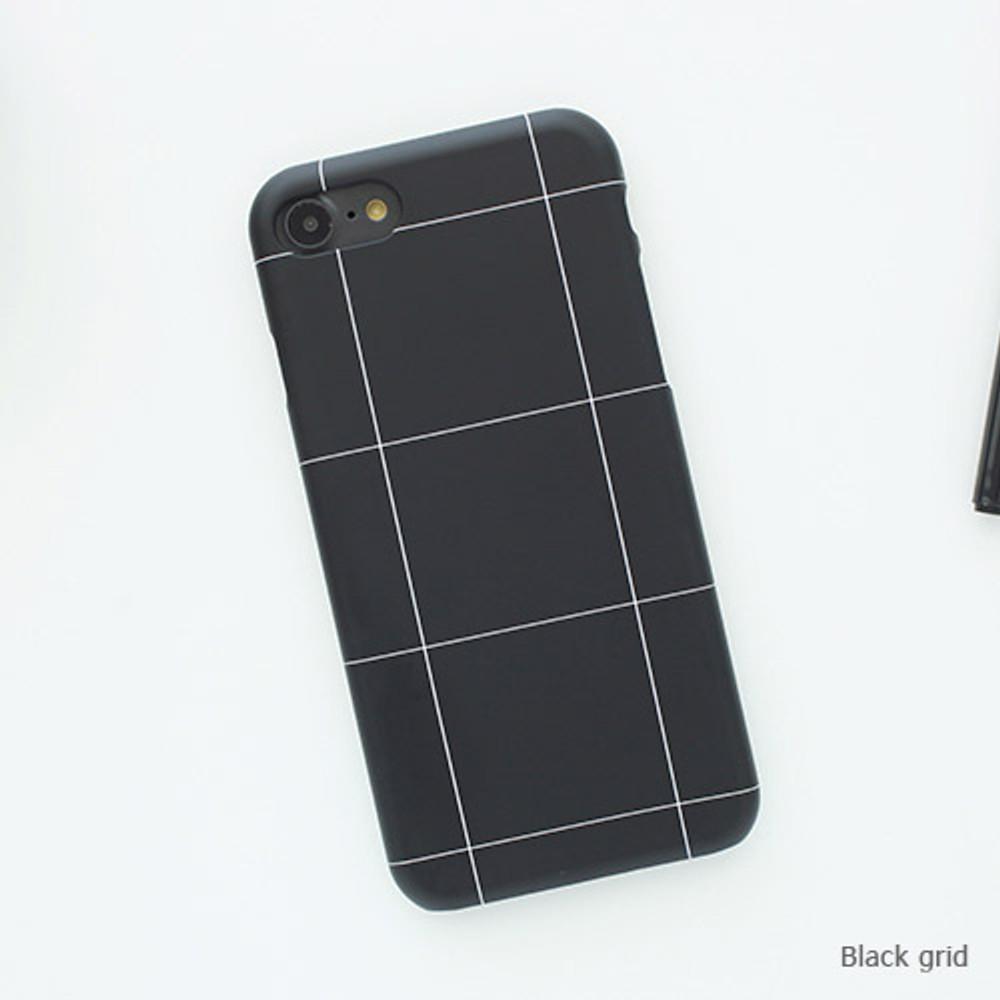 Black grid - Matte simple hard case for iPhone 7