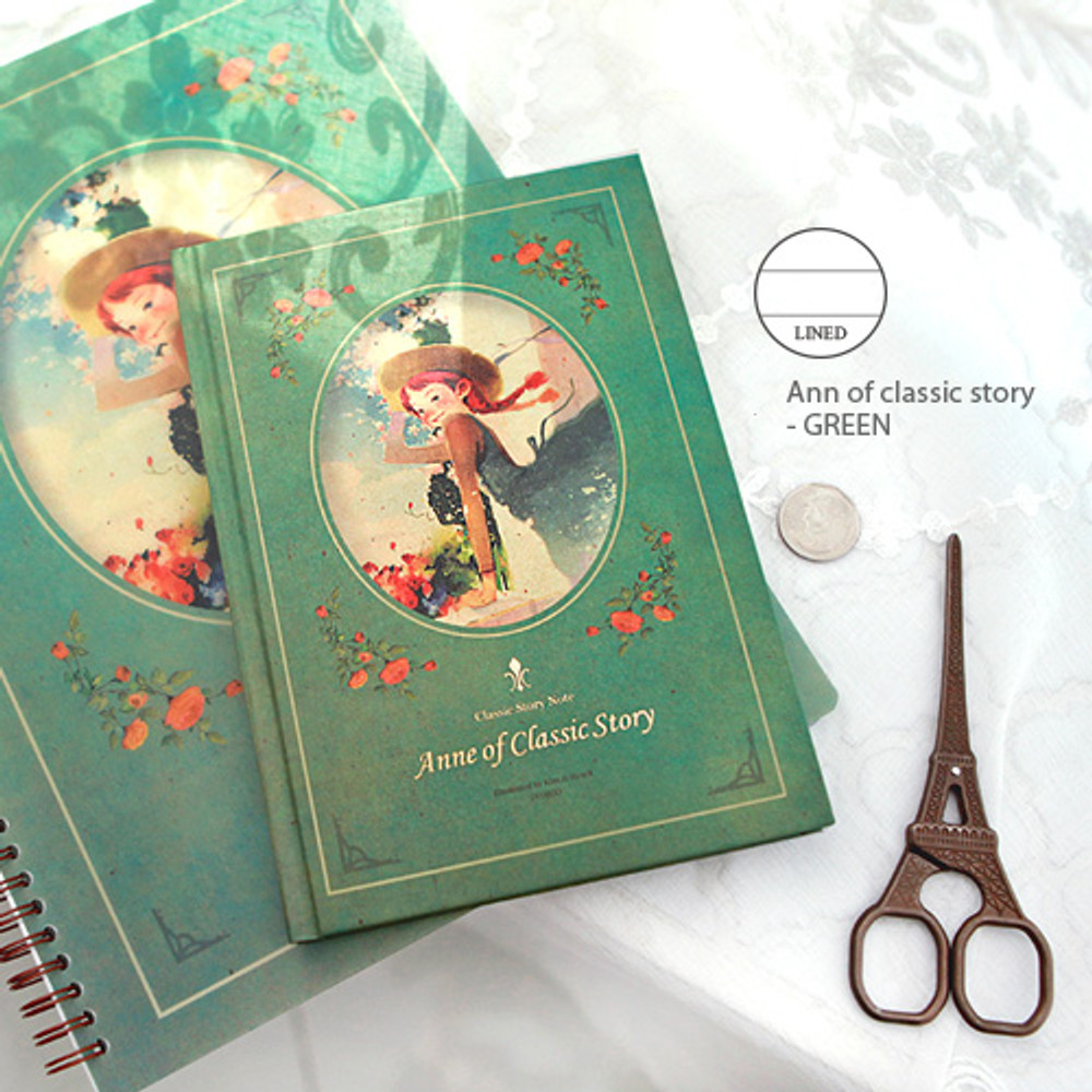 Lined note - Ann of classic story - green
