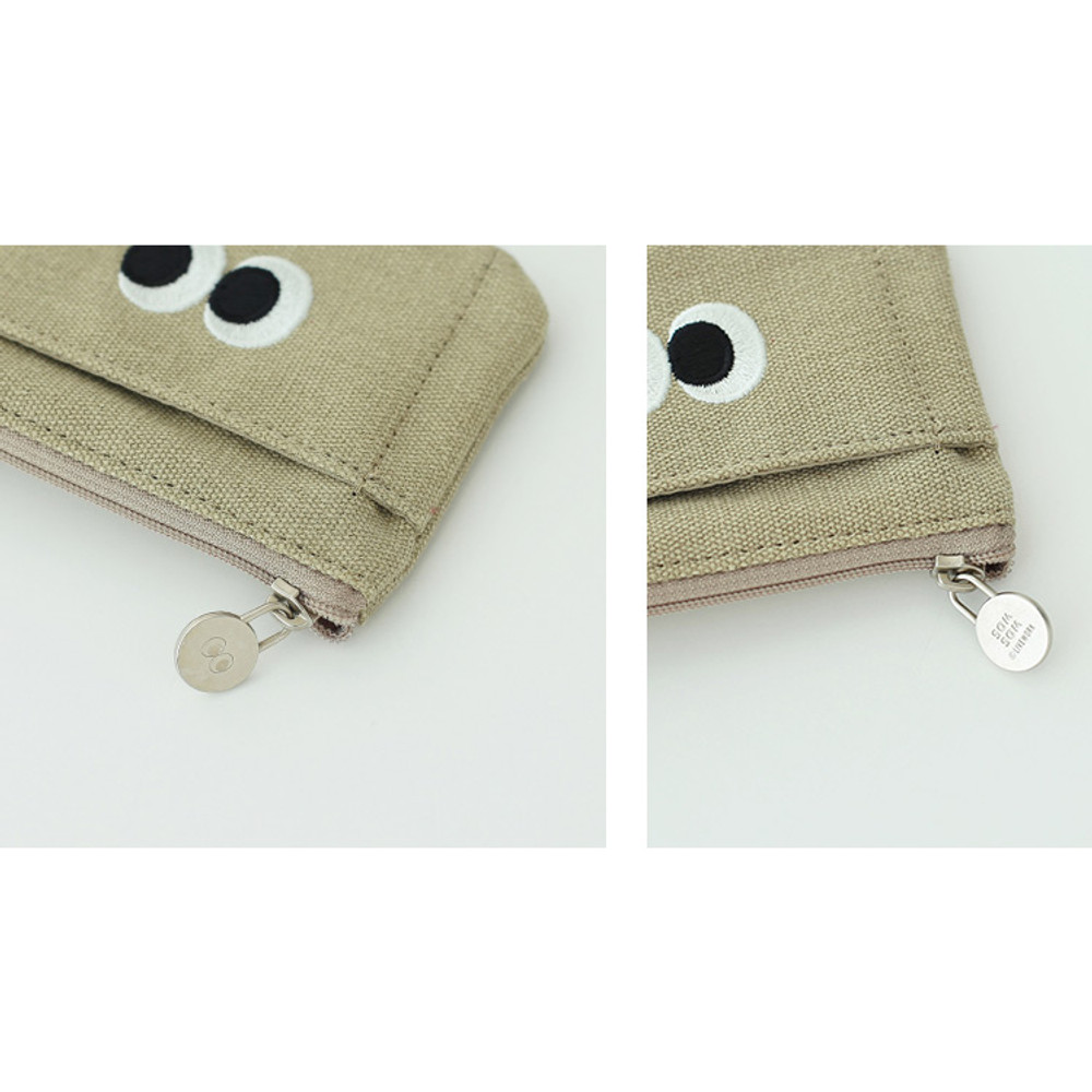 Khaki beige - Som Som stitching card case with key ring