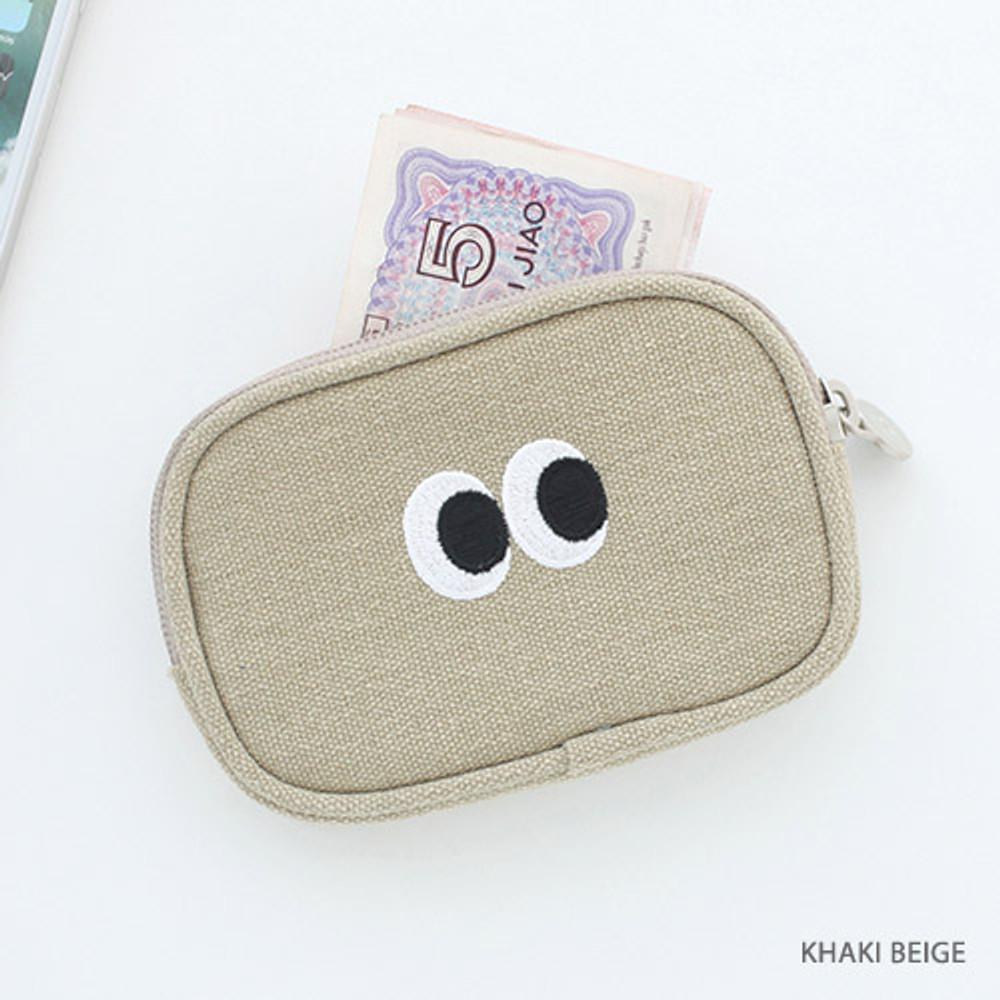 Khaki beige - Som Som stitching card case pouch