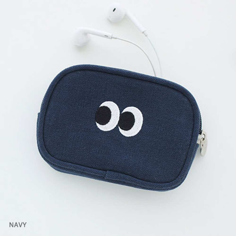 Navy - Som Som stitching card case pouch